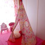【キッズテント】お花柄がおしゃれで可愛いおすすめのテント。4歳の娘の大好きな場所。