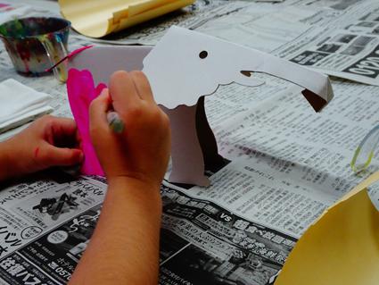 【習い事】2ヶ月ぶりの造形教室。ペーパークラフトの象さん。